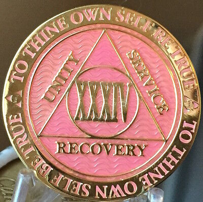34 Year AA Medallion Pink Gold Plated Alcoholics Anonymous Sobriety Chip Coin