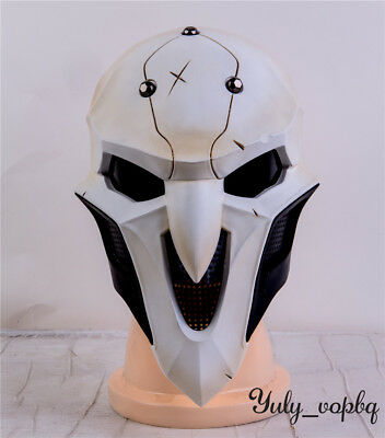 Game OW Reaper White Helmet Halloween Cosplay ABS 1:1 Replicated Masks Props