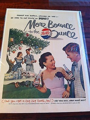 Vintage 1951 Pepsi Cola Young People Having Outdoor Party Soda Print ad