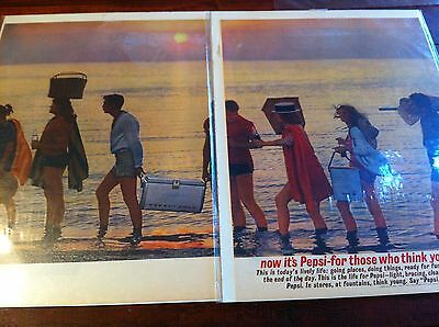 Vintage 1961 Pepsi Cola Young People Beach Party Sunset Soda Print Two Page ad