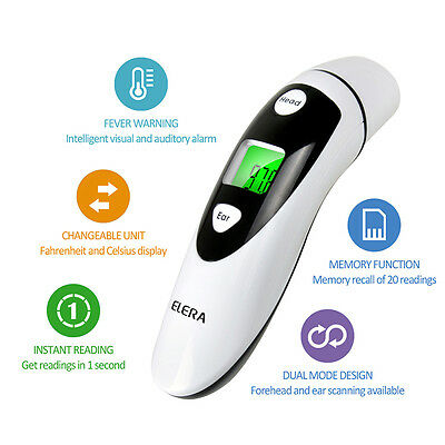 USA IR Infrared Body Thermometer Forehead Ear Baby Adult Temperature +Fever Warn