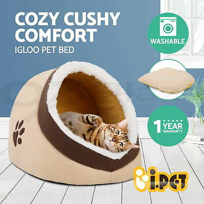 i.Pet Pet Bed House Fleece Sleeping Cave Warm Kitten Cat Dog Soft Cushion Nest