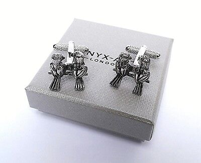 "Wedding Cuff Links-18mm ""LOVE BIRDS"" Silver Style METAL Links in a GIFT BOX-NEW"