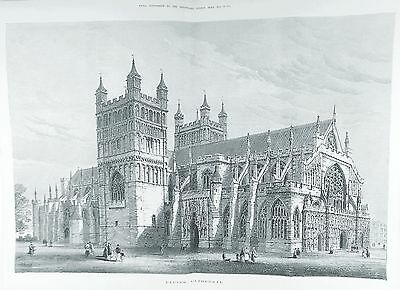 OLD ANTIQUE PRINT EXETER CATHEDRAL DEVON ARCHITECTURE c1877 ENGRAVING by S READ
