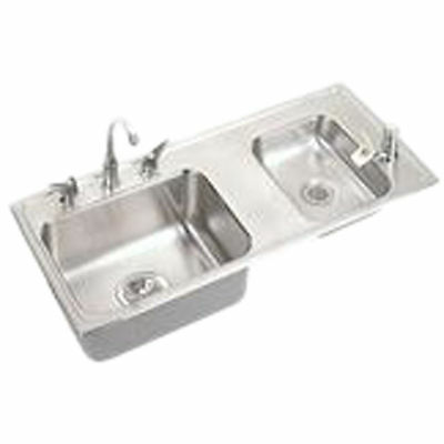 """Elkay DRKRQ3717RC 37""""x17"""" Lustertone Two-Bowl Classroom Sink with Fountain"""