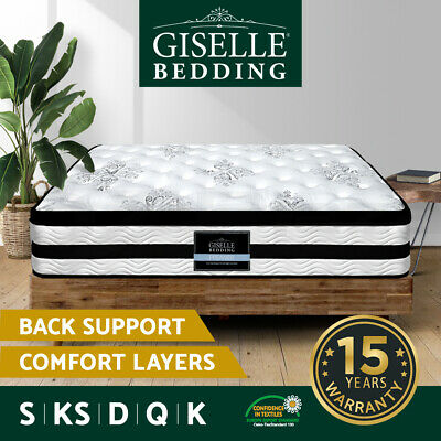 QUEEN DOUBLE KING SINGLE Mattress Bed Euro Top Pocket Spring Firm Foam 34CM