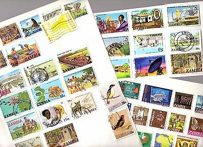 Stamps Album Page (x3) ~ ZAMBIA ~ Unsorted THREE IMAGES