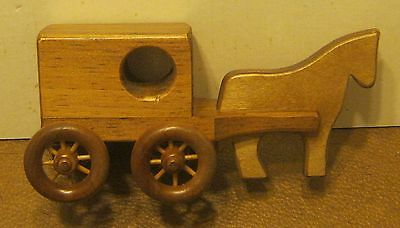Handcrafted Wooden AMISH BUGGY & HORSE with Original Price Sticker! SUPER!!!!