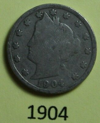 1904  US  Liberty Head ( V ) nickel in  circulated  condition    Free Shipping