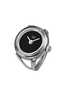 Davis 4185 - Womens Finger Ring Watch Black Dial Sapphire Glass Adjustable