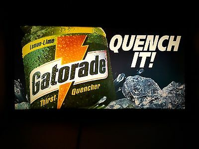 """Vintage 90's 13"""" X 26"""" Gatorade Hanging Store Display Lights Up Sign Quench It!"""