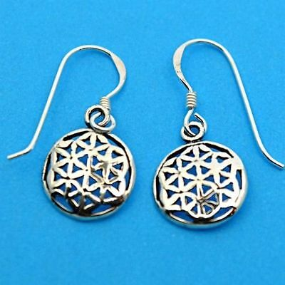 Flower of Life 925 Silver Small Drop Earrings~Sacred Geometry~Pagan~Jewellery