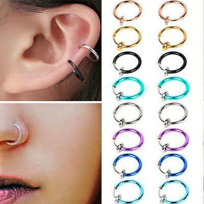 2×Spring Fake Clip Nose Hoop Ring Ear Septum Lip Eyebrow Earrings Piercing Cool