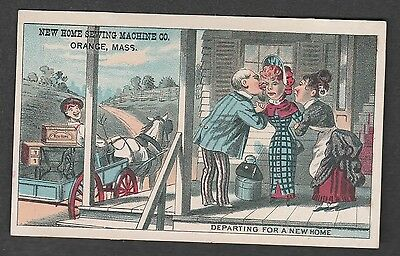 Victorian Trade Card New Home Sewing Machine Orange Massachusetts