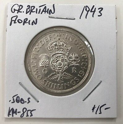 1943 Great Britain Silver Florin Km#855