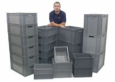 NEW Strong Grey Industrial Plastic Euro Storage Boxes Box - Choice Of 7 Sizes