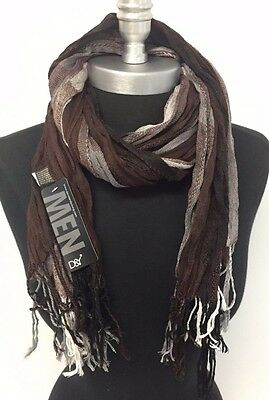 NEW Classic Men's Fashion Style Crinkle Long Scarf Wrap Shawl Stole Cozy Brown