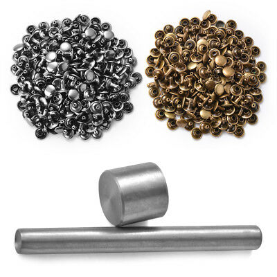 100 Sets Double Cap Rivets Studs Sewing Leather Craft Repair +Die Punch Tool Set