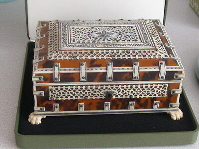 Antique VIZAGAPATAM  1890c Anglo Indian FAUX TORTOISESHELL & BONE MUSICAL BOX