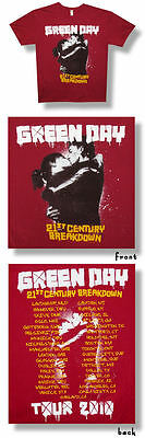 Green Day- NEW 2010 Concert Tour MAROON T Shirt-Large SALE FREE SHIP TO U.S.!