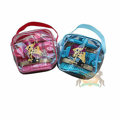 Childrens Junior Grooming Kit Bag horse and pony for kids. PINK and BLUE.