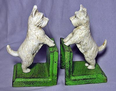 Set of 2 Heavy WEST HIGHLAND WHITE TERRIER WESTIE DOG Cast Iron BOOKENDS Scotty
