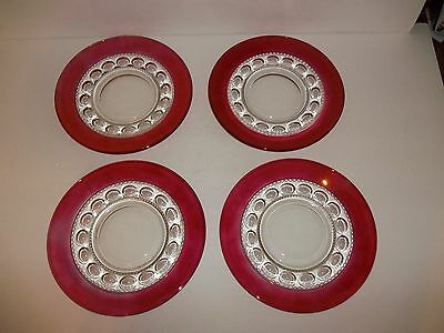 4 Vintage Tiffin Franciscan Ruby Stained Kings Crown Thumbprint Lunch Plates