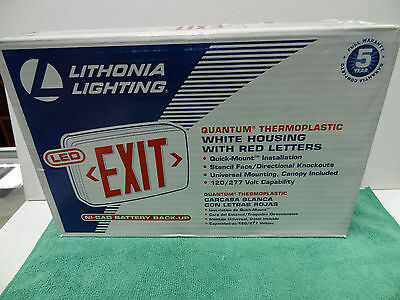 Lithonia Lighting Quantum Red LED Exit Light with Back-Up Battery, White #LQMSW3