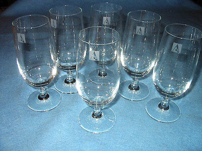 ANSETT AUSTRALIA Set of 6 CHAMPAGNE / WINE GLASSES New