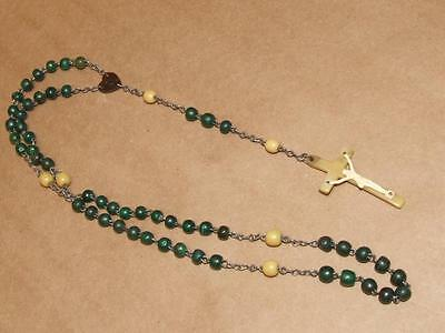 Vintage Dyed Green Irish Horn Bead Rosary Red Horn Medal & Yellow Horn Crucifix