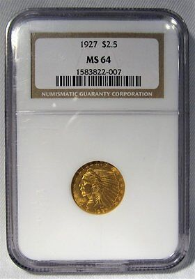 1927 $2.50 Quarter Eagle Gold Coin NGC MS 64 AC294