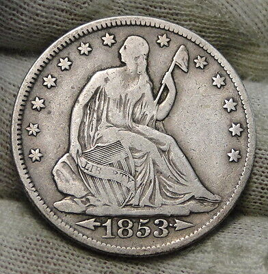 1853 Seated Liberty Half Dollar 50 Cents. Nice Coin Free Shipping  (6120)