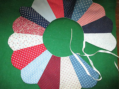 VINTAGE BLUES & REDS COTTON & MUSLIN QUILT SCRAP COLLAR  12 1/2 inch diameter,