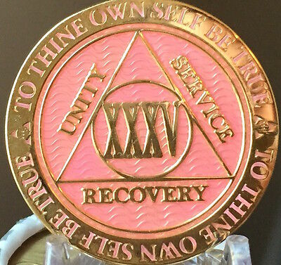 35 Year AA Medallion Pink Gold Plated Alcoholics Anonymous Sobriety Chip Coin