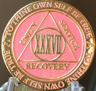 37 Year AA Medallion Pink Gold Plated Alcoholics Anonymous Sobriety Chip Coin