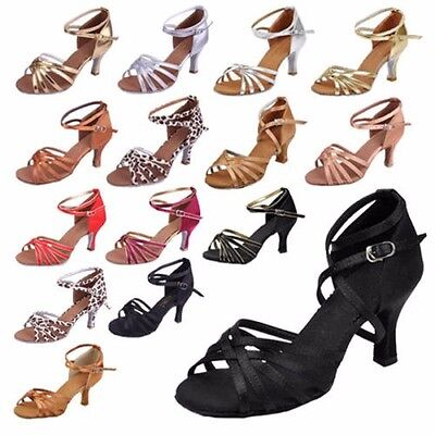 New Womens Ladies Girls Latin Tango Dance Party Shoes Ballroom Heeled Salsa SIZE
