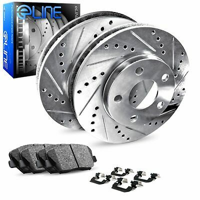 2009-2015 Toyota Venza Rear eLine Drilled Slotted Brake Rotors & Ceramic Pads