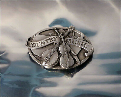 Vintage 1984 Siskiyou E-29 Pewter Belt Buckle, Country Music
