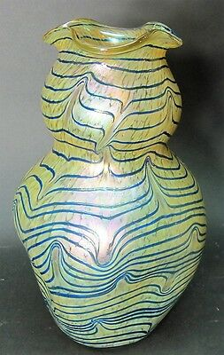 "Massive KRALIK ""Blue on Gold"" Iridized Art Glass Vase  c. 1910  antique Bohemian"