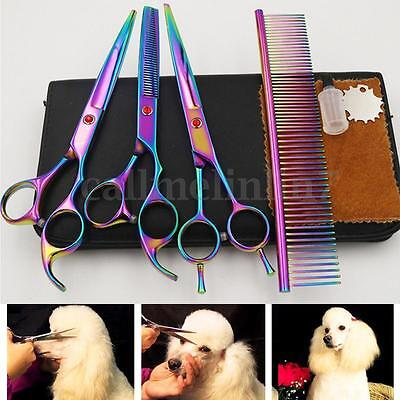 7'' Pro Plated Pet Dog Grooming Scissors Cutting &Thinning & Curved Shears Set