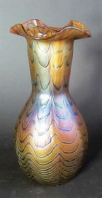 "Fine 8.25"" KRALIK BLUE WAVE Bohemian Art Nouveau Glass Vase  c. 1902  antique"