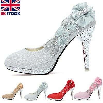 Womens Ladies Glitter Crystal High Heels Bridal Wedding Evening Party Shoes Size
