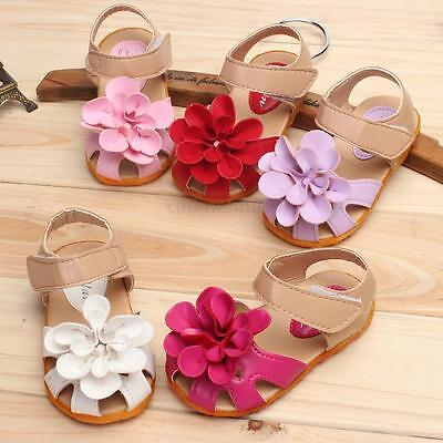Baby Girls Flowers Sandals Skidproof Sole Summer Toddlers Infant Leather Shoes