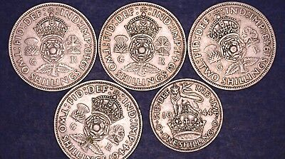 George VI 4 Florins, 1 Shilling HIGHER GRADE COINS 50g of 50% Silver *[5260]
