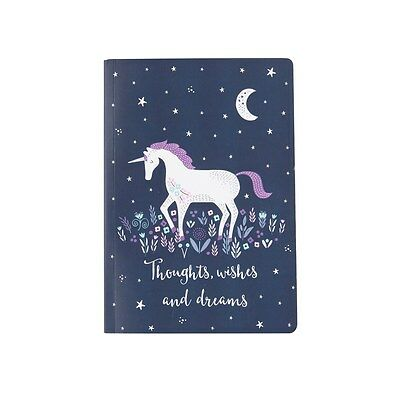 Sass and Belle A5 sized Notebook - Starlight Unicorn design, Plain paper