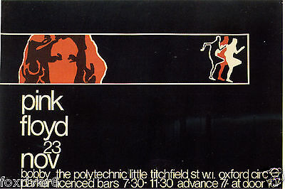PINK FLOYD Concert Window Poster - Central Polytechnic, London 1968 - reprint