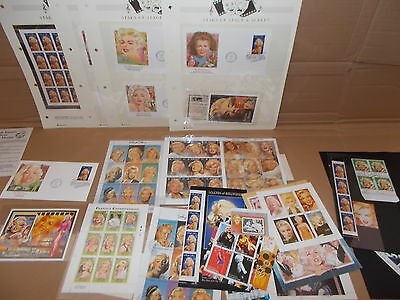 Marilyn Monroe Stamps Collectiom F.d.c. Plate Blocks With Certs And Others