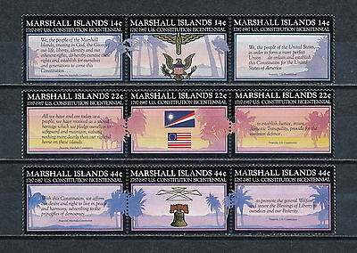 Marshall Is. #143 - 151 MNH, Bicentennial of US Constitution 1987