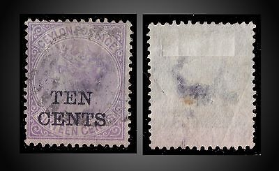 1885 Ceylon Victoria Rare Ovp.ten Cents On 16 Cents Violet Sct. 101 Sg. 161 Used