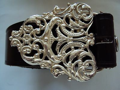 Solid Sterling Silver Rococo Style Belt Buckle